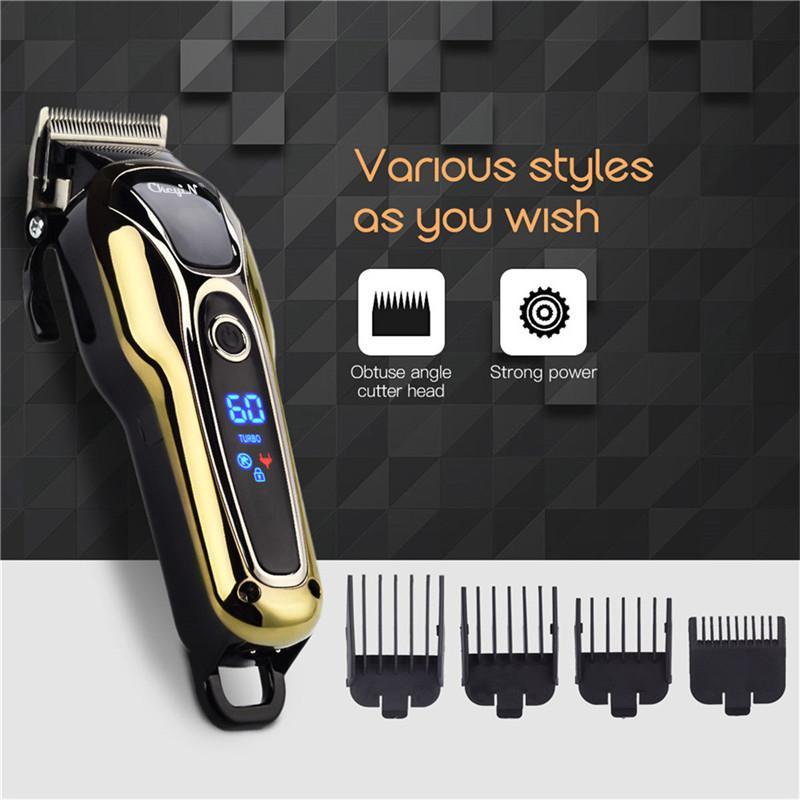 Режущий Professional Машинка для стрижки волос Mens Barber перезаряжаемые волос машина Борода Триммер электрический Аккумуляторный волос Cutter с низким уровнем шума 5