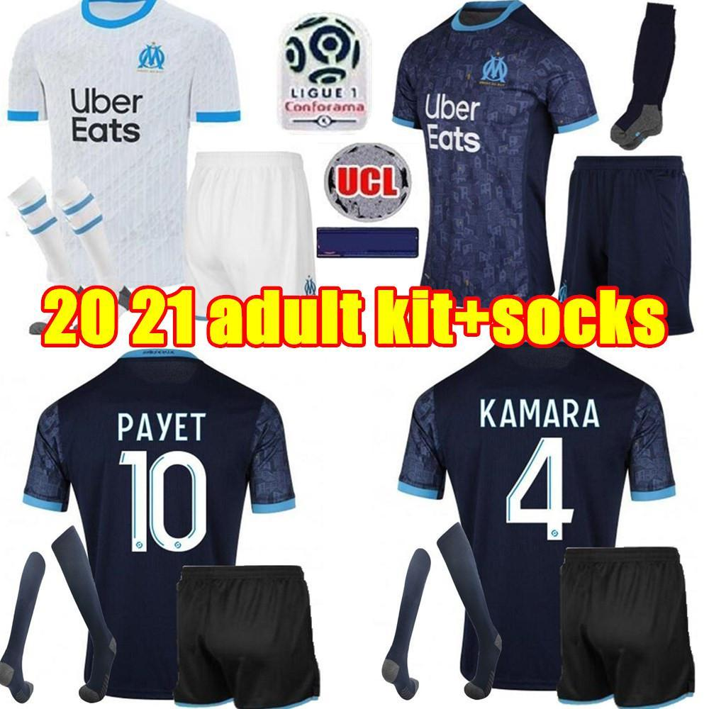 NCAA 2020 2021 Marselha Futebol Jerseys 20 21 homens Olympique om Maillot de pé Benedetto Payet Thauvin Adulto Kit Football Shirt