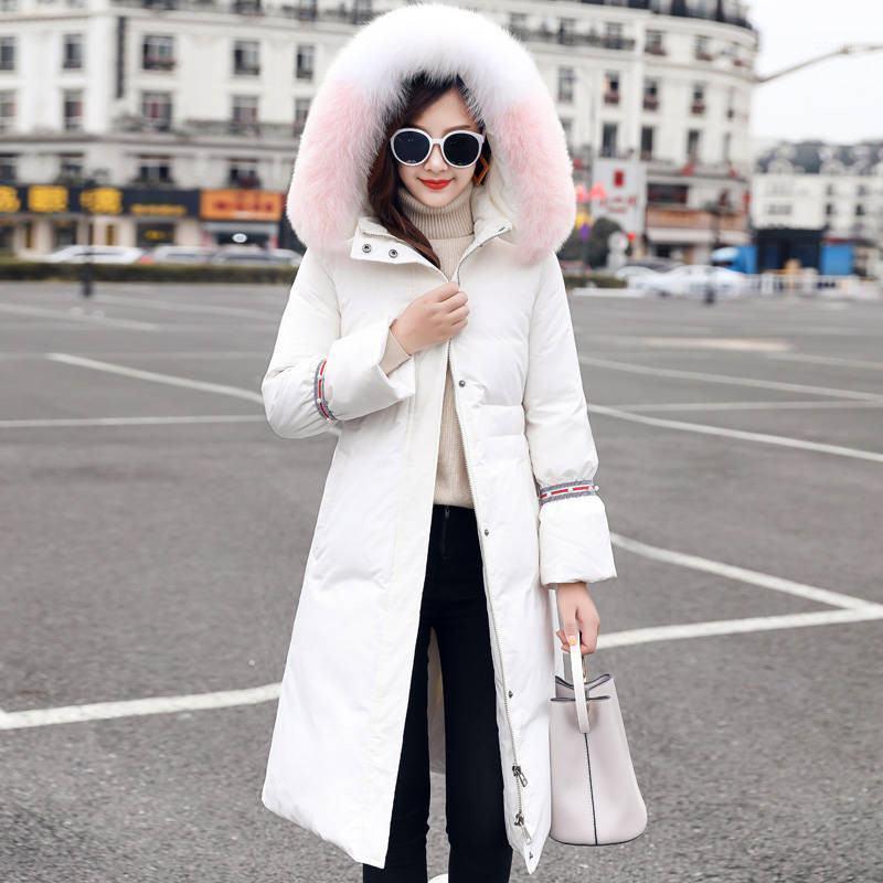 2020 inverno novas mulheres mulheres real colarinho capuz pato branco para baixo jaqueta feminina lace up longo para baixo casacos puffer parkas casaca m1251