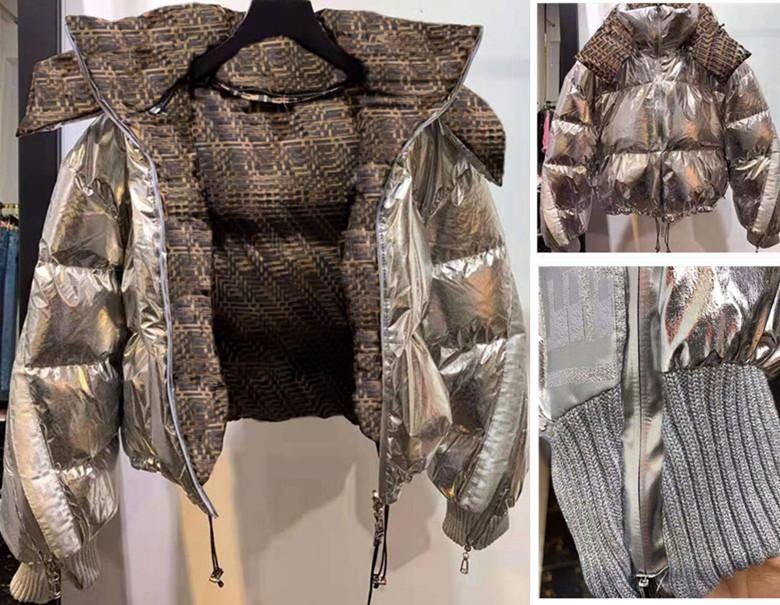 Marka Bayanlar Ekmek Mektubu Bayan Kısa Ceketler Uzay Gümüş Şerit Aşağı Ceket Lüks Kapşonlu Ceket Pamuk Giyim Kadın Kış Ceket Tops