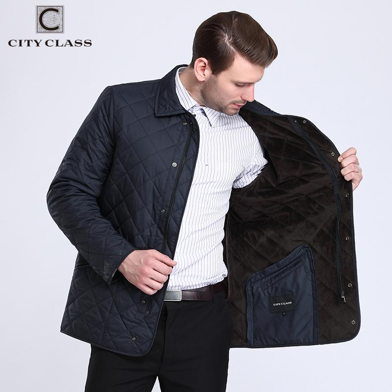 CITY CLASS New Business Spring Autumn Mens Quilted Jackets Fashion Lining Fleece Casual Coat Tops For Male 15307 1113