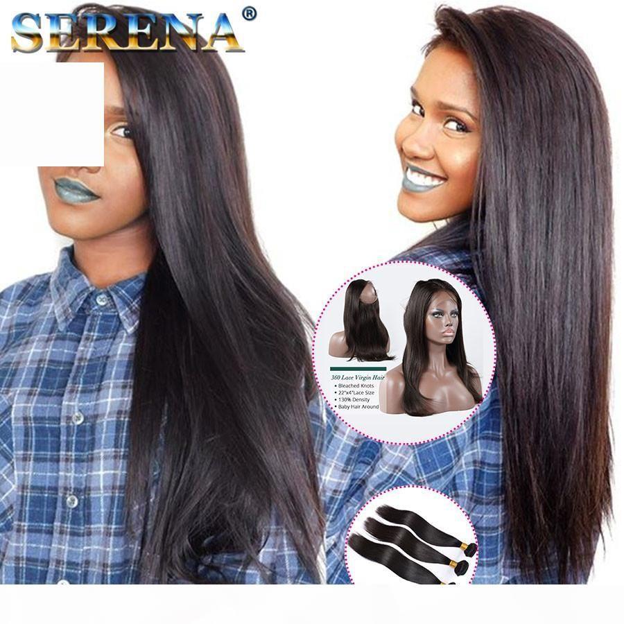 Cheveux vierges péruviens avec 360 dentelle frontale 7a droite 360 dentelle fermeture avec cheveux vierges Humains de 3 bundles 4 pcs lot extensions de cheveux noirs