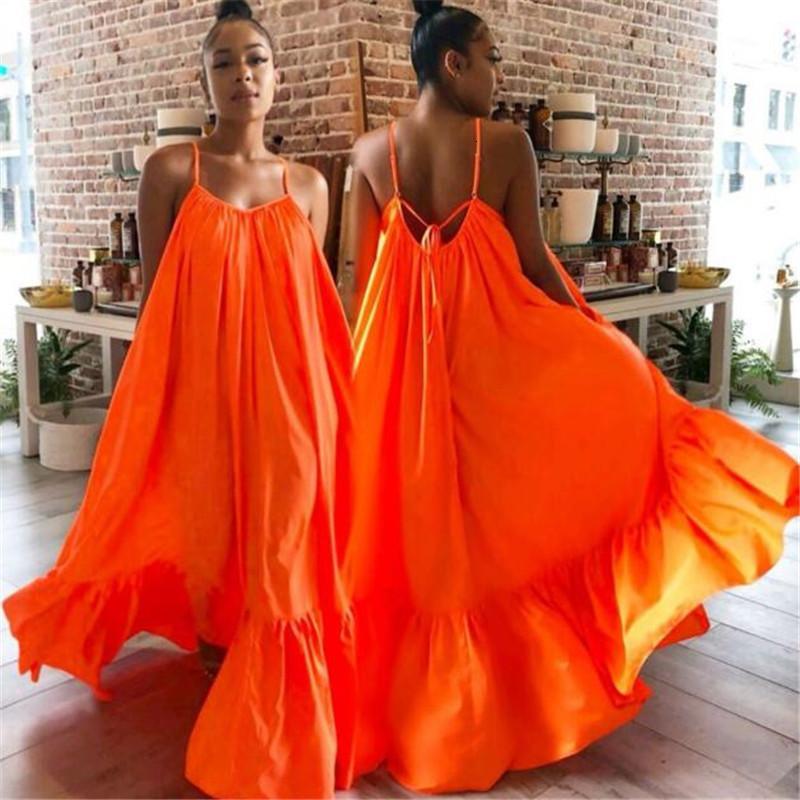 S-5XL плюс платья размера для женщин Одежда сексуальное платье сплошной цвет Свободные дамы одежда Большой размер Женщины длинные Maxi платья Vestidos J1ev