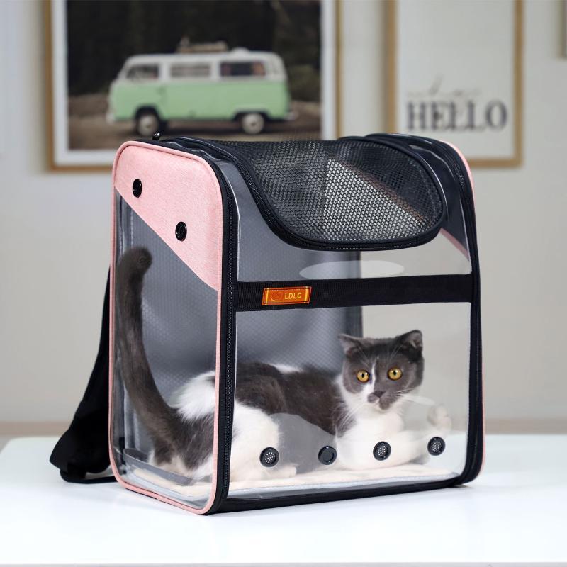 Novas fontes do cão transparente visível pet mochila PVC espaço do saco cão gato de estimação para fora saco de portátil dobrável