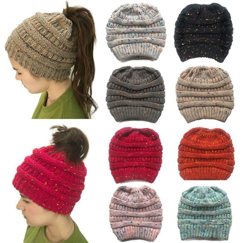 Mulheres Winter Rabo Beanie macia estiramento Knit desarrumado alta Bun Hat Meninas inverno quente Cap 11colors HHA1607