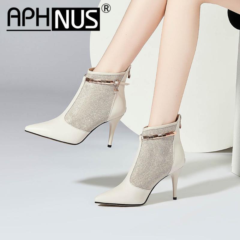 APHNUS Womens botas curtas do tornozelo Sapatinho Mid Salto Alto Bombas Mulher 2020 sapatos para as mulheres Nova Bota