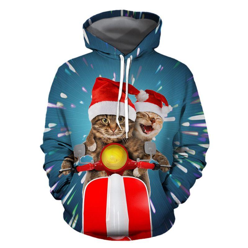 2021 La nouvelle nouvelle chemise de nuit européenne d'empreinte de Noël d'Amérique de Noël avec Hood Homme et femmes Pull de baseball uniforme I6YB