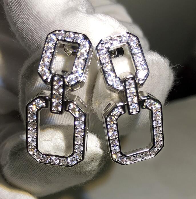 여성 쥬얼리에 대한 CZ 다이아몬드 스톤과 긴 귀걸이 기하학적 사각형 간단한 매달려 귀걸이 빛나는 디자이너