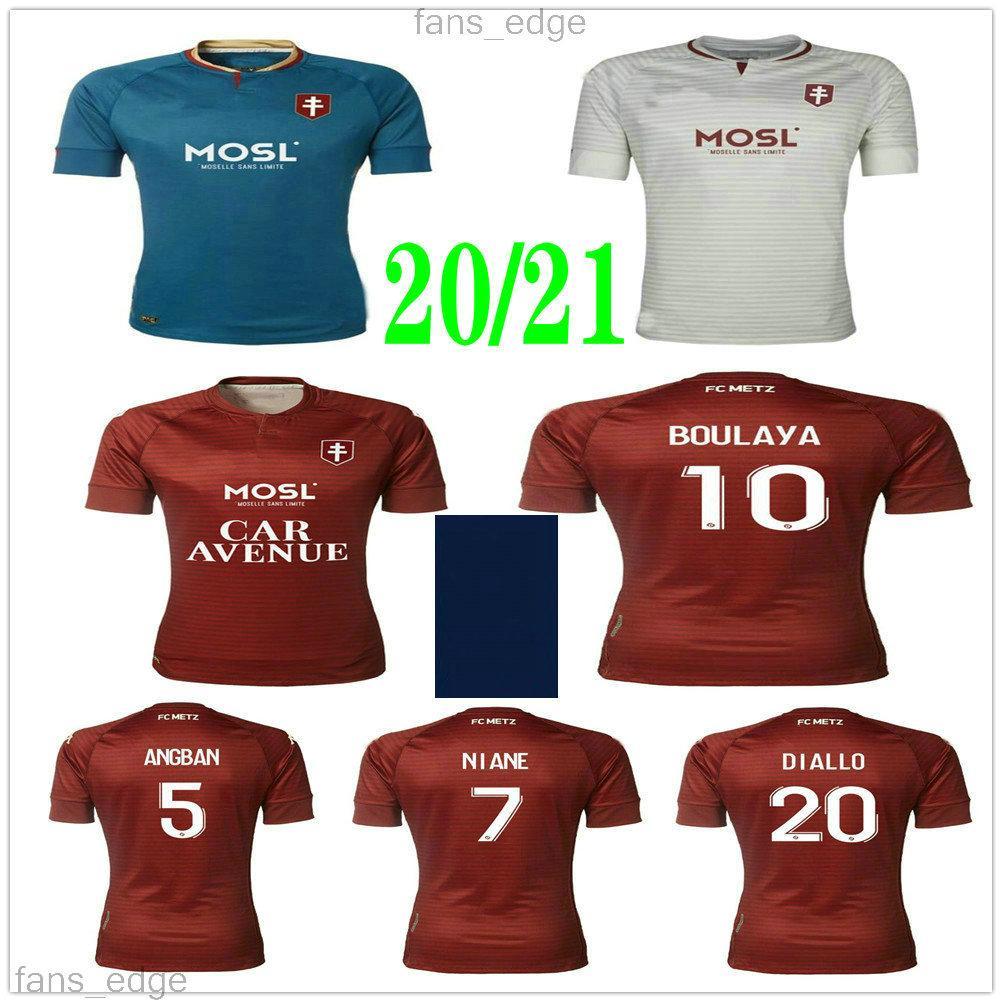 Maillot de Foot 20 21 FC Metz Futbol Forması 2020 2021 Boulaya Diallo Centonze Bronbon Vagner Niane Fofana Vagner Özel Ev Futbol Gömlek