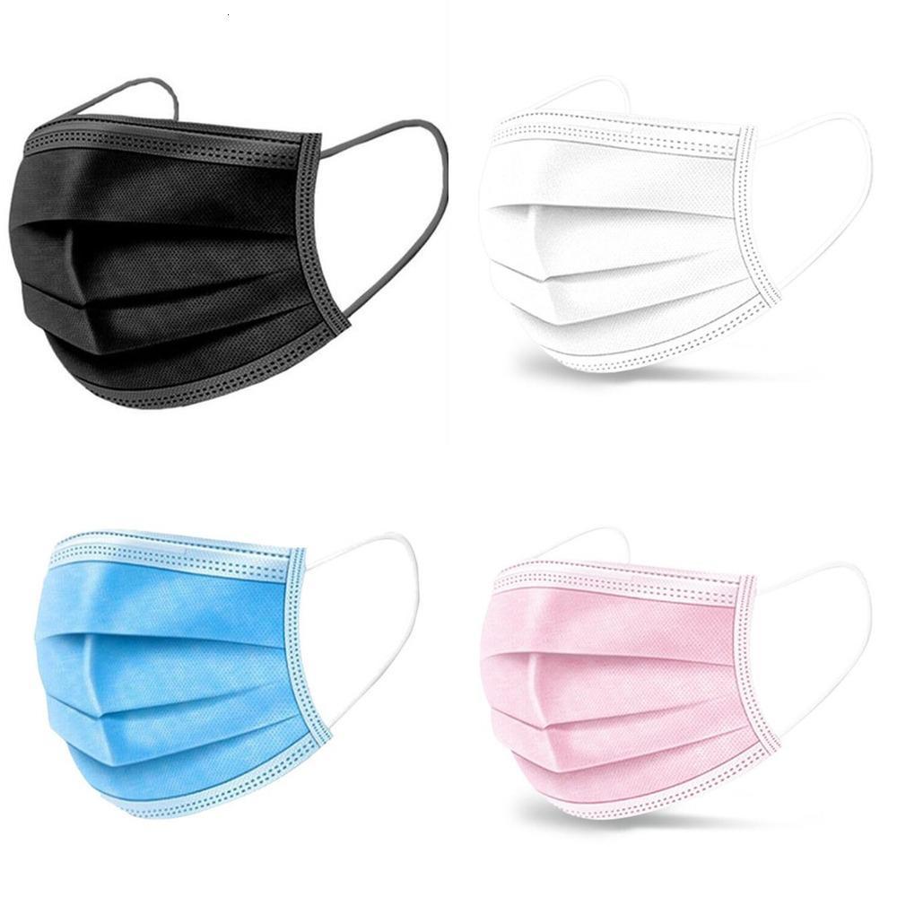 Frete Grátis 3-Camada Preto Rosa Branco Face Descartável DHL Máscaras de Proteção de 3 Camadas com Máquina de Eropa Face Sanitária Outd01