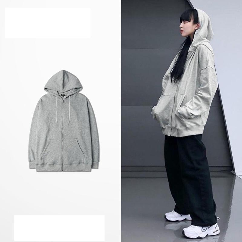 Kpop surdimensionné Sweat-shirt coton zip capuche en vrac Harajuku hoodies gris automne unisexe adolescents Hoodie Vêtements femme 2020