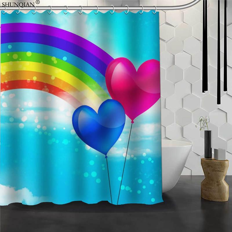 Nuevo colorido del arco iris ducha personalizada cortina de tela impermeable baño cortina de tela de poliéster 180X200cm165X180cm Baño
