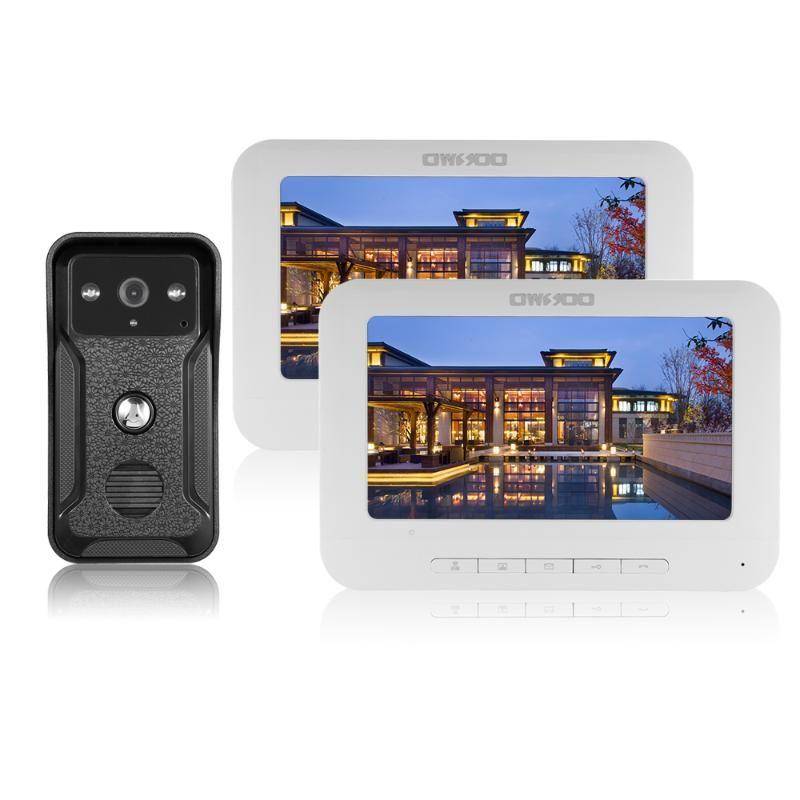 فيديو باب الفيديو OWSOO 7 بوصة السلكية جرس الباب داخلي مراقب في الهواء الطلق كاميرا البصرية في اتجاهين الدايتون إنترفون عن بعد فتح الهاتف