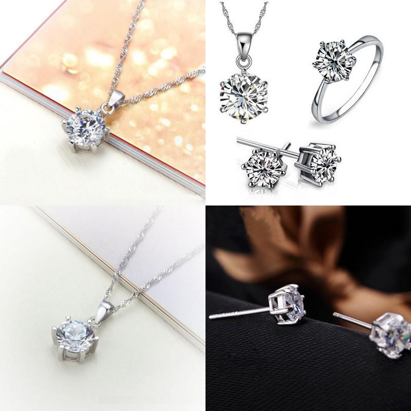 Ювелирные изделия подружки невесты для свадебного золота, такие как 925 стерлинговые серебряные серебряные цепи ожерелье подвеска для женщин кольца драгоценных камней 33 J2