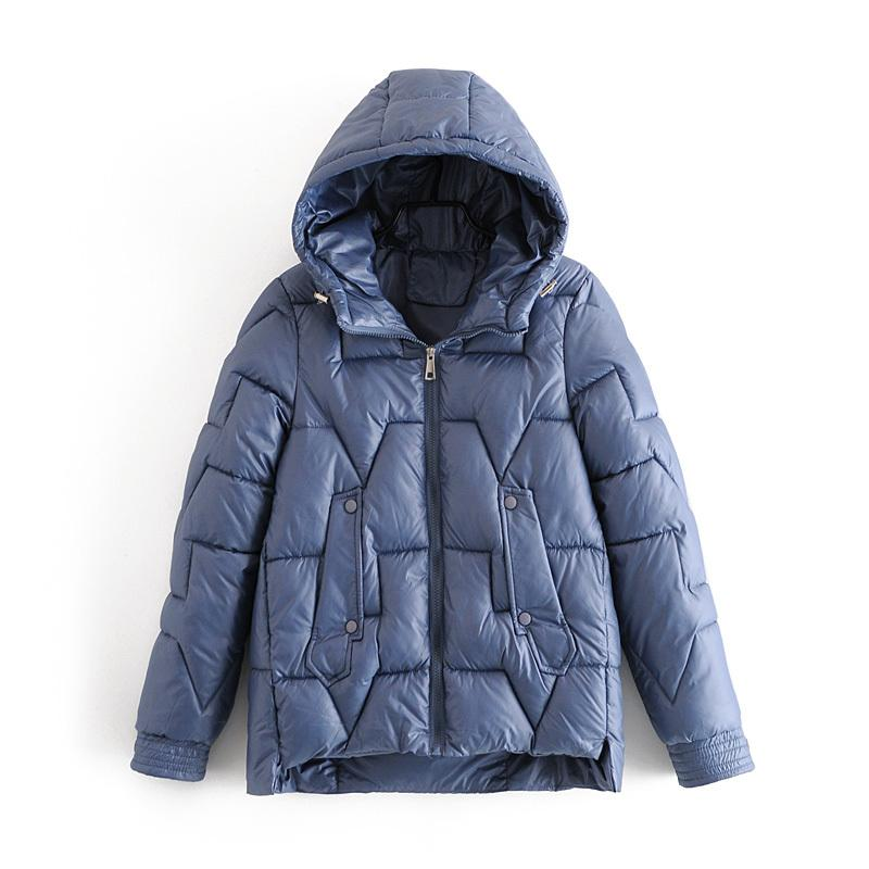 Nouvelle arrivée femmes Parkas Vestes à capuchon épais chaud vers le bas coton Coats solide Parkas Fermeture à glissière de poche rembourrée froid Outwear C1108