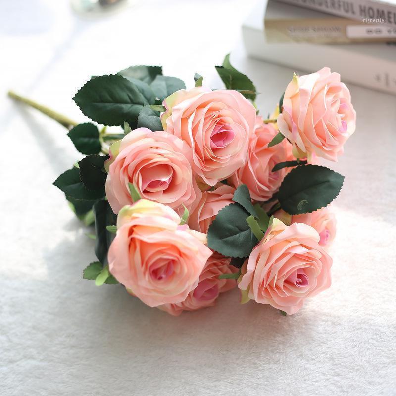 1 grappolo francese artificiale rosa rosa bouquet floreale floreale concordare tavolo daisy matrimonio fiori decorazione party accessory flores1