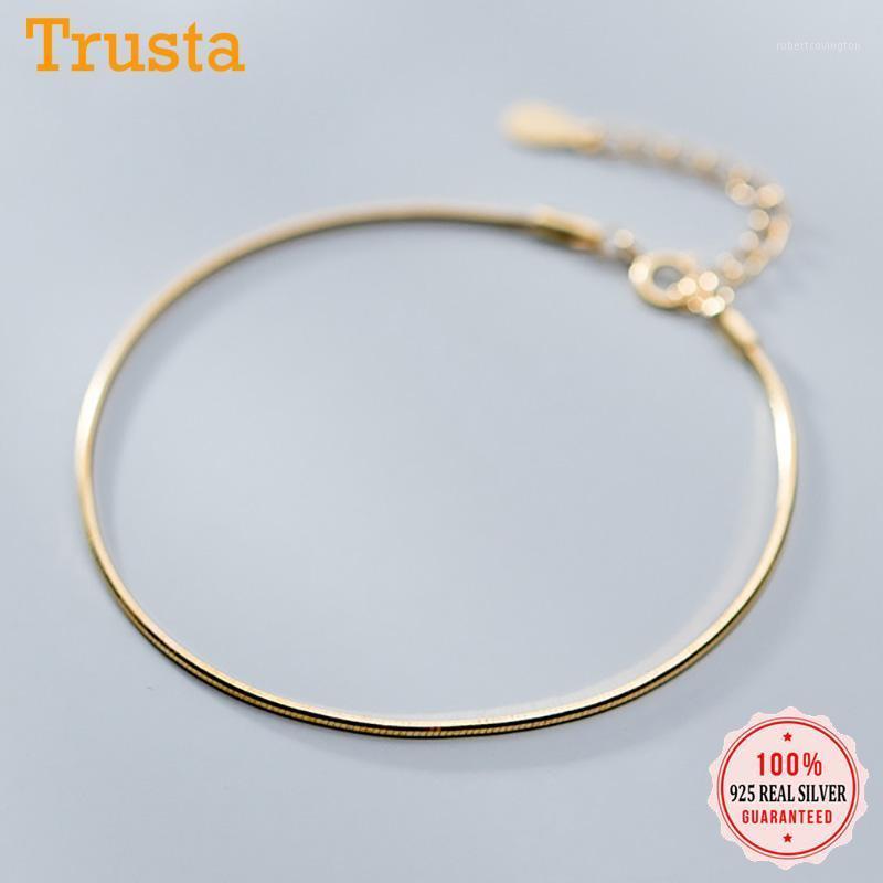 Trustdavis Minimalist Authentic 925 Sterling Silber Mode Einfache Schlangenkette Armbänder Für Frauen Hochzeit S925 Schmuck DA11461