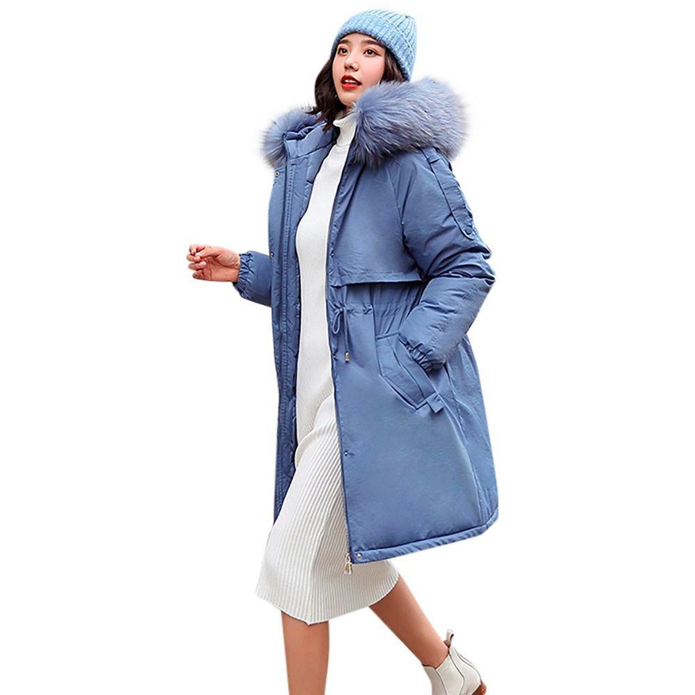 Mantel Frauen-Winter Große Pelz-Kragen mit Kapuze unten Cotton Sustans Long Jacket Female Parka Outwear Plus Size Jaquetas Feminina # J30 GSQ7