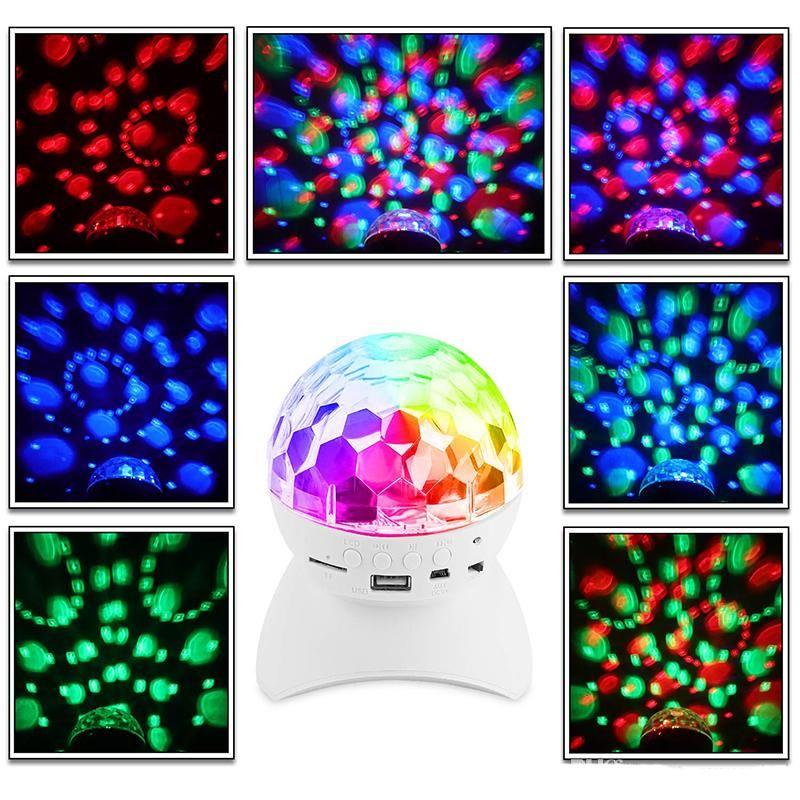 Bluetooth LED Crystal Magic Ball Stage Effect Light Light 1000mAh RGB DJ Club Disco Discotecy Gestore con USB TF FM Radio Bluetooth Speaker DDD4799