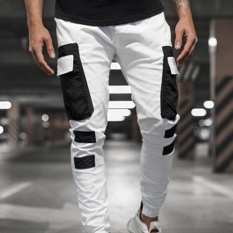 Les hommes occasionnels solide multi-poches Pantalon Streetwear Slim Cargo Crayon Pantalons Drawstring Homme 2020 Mode mince jogging Sweatpants