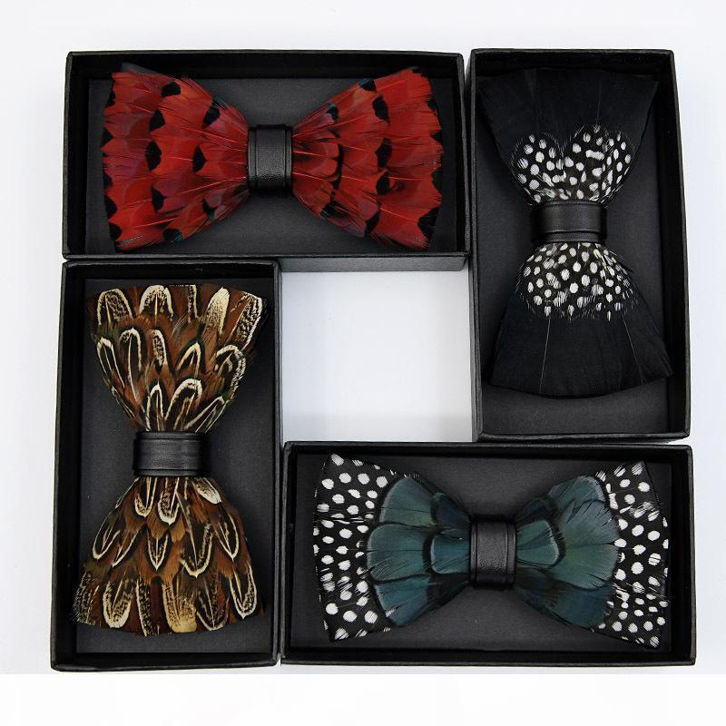 Männer Natürliche Pfaufedern Handgemachte High-End Foug Fliege Kragen Blume Bunte Krawatten Für Männer Bowtie Noeud Papillon Homme