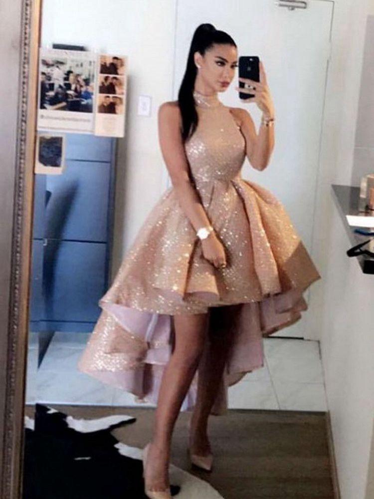2021 Nova rosa curta ouro lantejoulas cocktail vestidos de alto pescoço sem mangas lantejoulas alto vestido de baile alto mais tamanho de primeira festa homecoming vestido