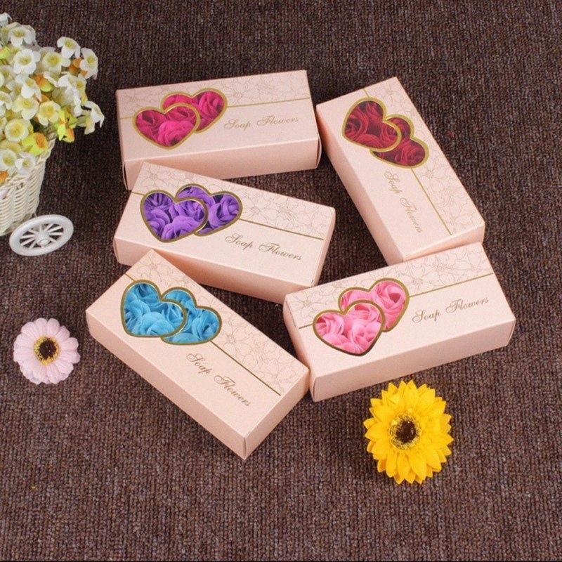 Caja floral de la flor del corazón con el baño de Rose Jabón perfumado flor de Rose de la boda esencial flores de San Valentín día de la celebración de regalo BSEF #