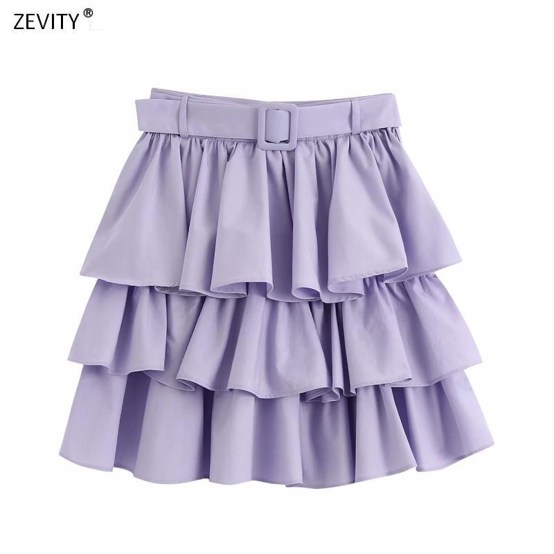 Zevity nuevo de las mujeres falda de volantes fajas de color pastel en cascada sólida Faldas mujer lado de las damas cremallera vestidos elegantes mini faldas QUN635 1014