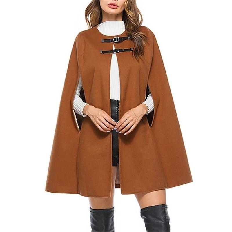Sonbahar Kış Cape Femme Lady Bayan Sıcak Katı Colort Yarasalar Pelerin Ceket Ceket Hırka Giyim Panço Capas de Mujer CD 201210