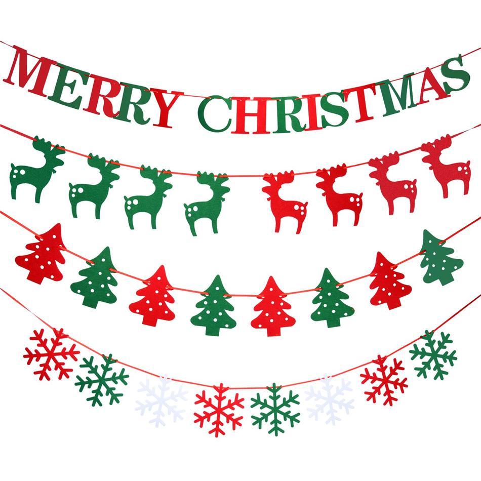 10PCS / Set di Natale Bandiera Bandiere di Buon Natale in feltro Bandiere Hanging ghirlande per decorazione del partito decorazione domestica (casuale)