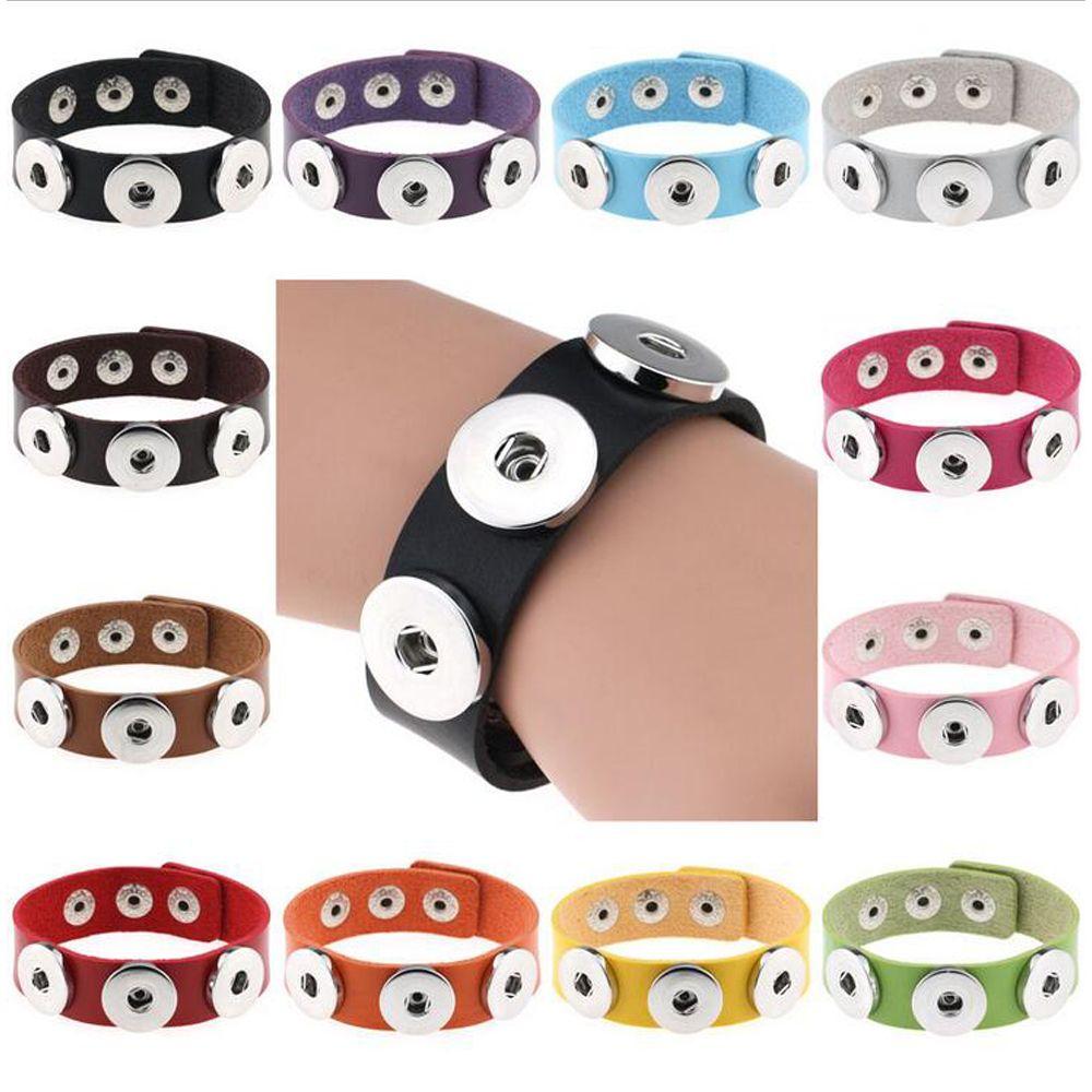 Braccialetti a bottone a scatto Braccialetti 14 Colore Bracciali in pelle PU di alta qualità per le donne 18mm Pulsante a scatto Gioielli