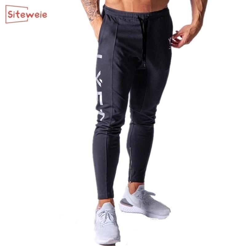 SiteWeie Pantalones deportivos hombres corriendo gimnasio algodón lápiz pantalones joggers casual aptitud algodón pantalones de algodón pantalones de culturismo G249 20116