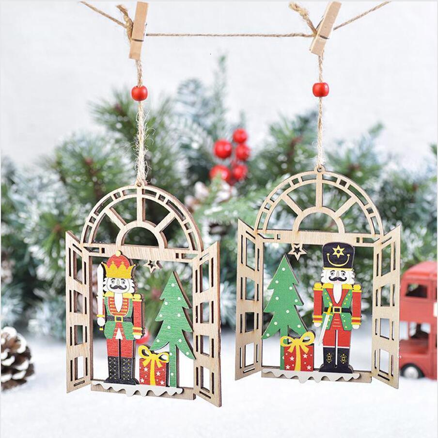 Árbol de Navidad colgante Soldado Soldado del cascanueces de madera ventana Inicio Ornamentos colgantes decoración regalos de Año Nuevo DDA616PIQM
