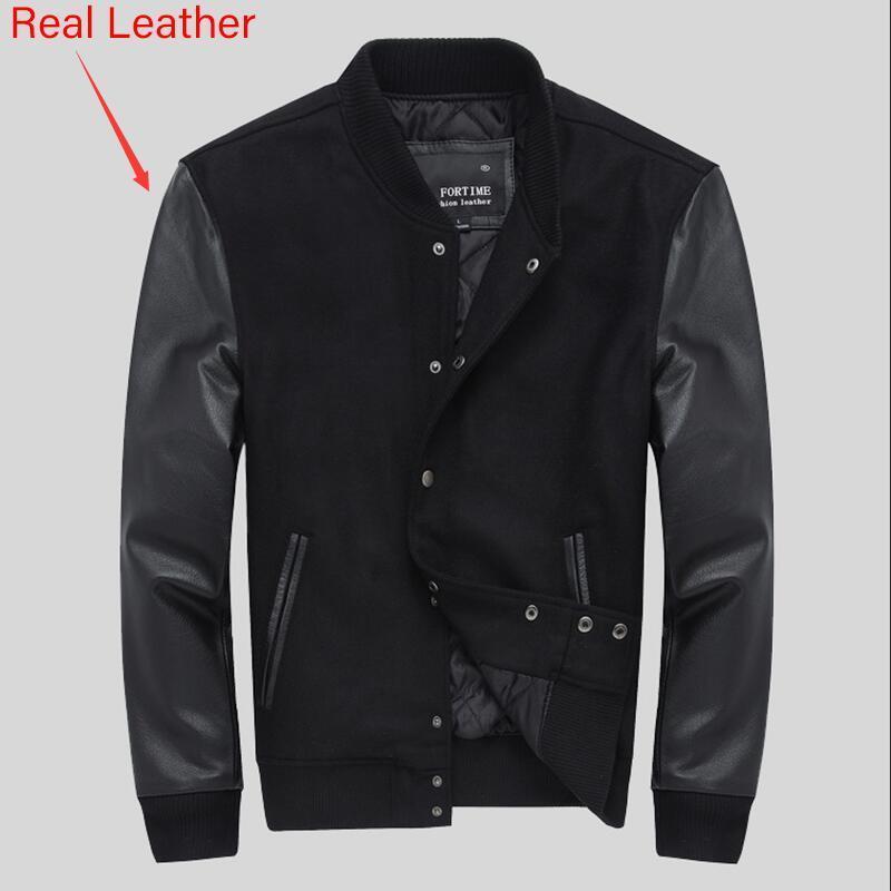Escola faculdade equipe acolchoado varsity jaqueta homens luvas de couro lã beisebol lactherman casaco preto cor preta