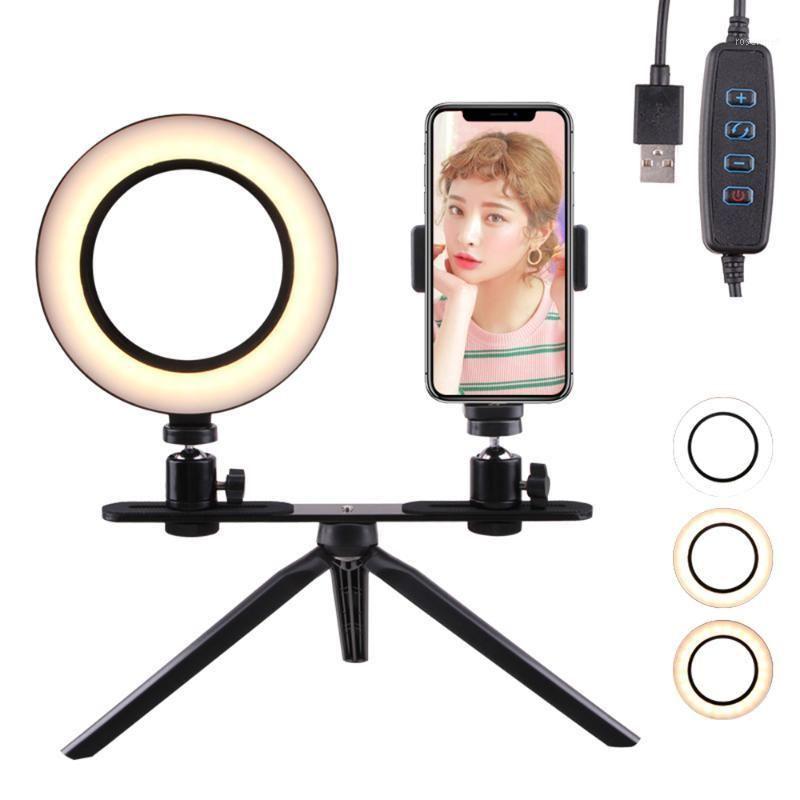 Flash Heads 2 Параметры Pog Pog 5W LED Selfie Light 160 мм Заполнение Dimmable Camera Телефонная лампа с таблицей Штриховые Клип для Smartphone1