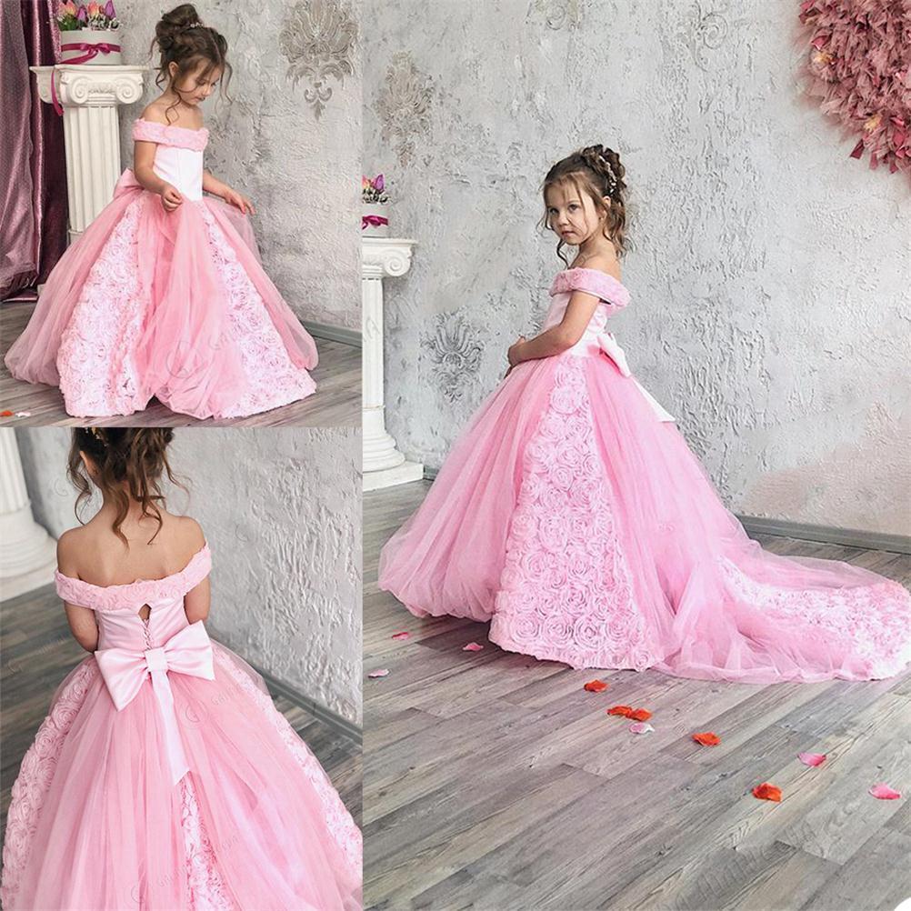 Rose épaules fille de Pageant robes avec Bow Sash Fleurs 3D Sweep train fête d'anniversaire Robes