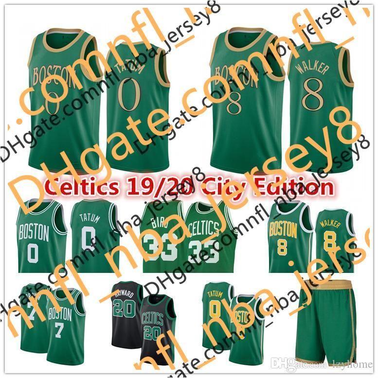 NCAA 2020 Jayson 0 Tatum Kemba 8 Walker Jersey Green BostonNBA.Celtics.Jerseys Larry 33 Bird Gordon 20 Hayward Jaylen 7 Brown