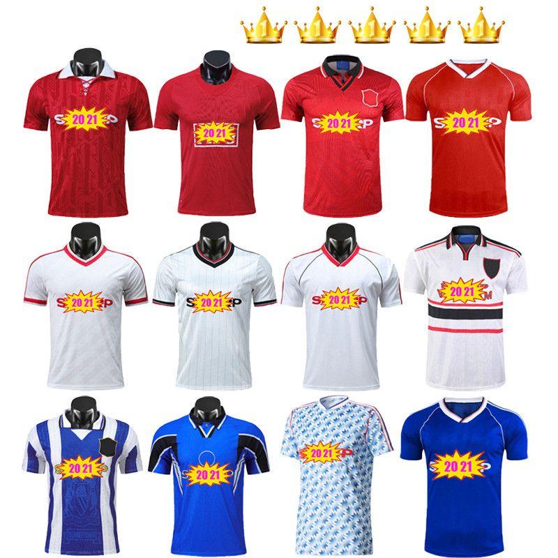 Manchester Retro Version Soccer Jerseys 07 08 83 86 Finale Football United Giggs Scholes Beckham Ronaldo 88 90 92 94 96 98 99 Utd Cantona Keane Kits Uniformen