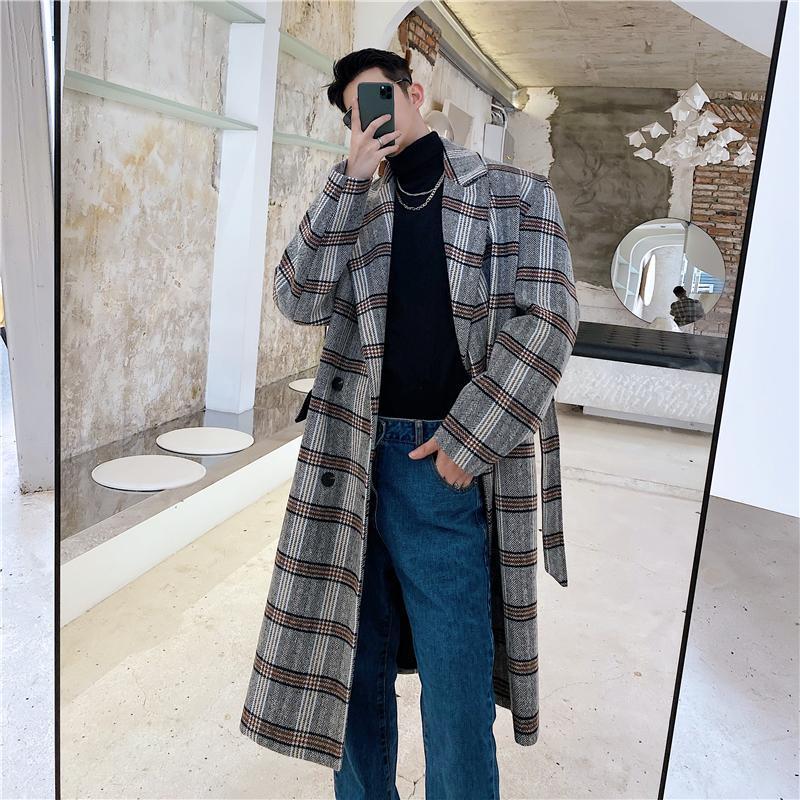 Masculino Mujeres Streetwear chaqueta Prendas de abrigo de otoño invierno de pecho doble correa ocasional de lana suelta Escudo Abrigo a cuadros zanja larga