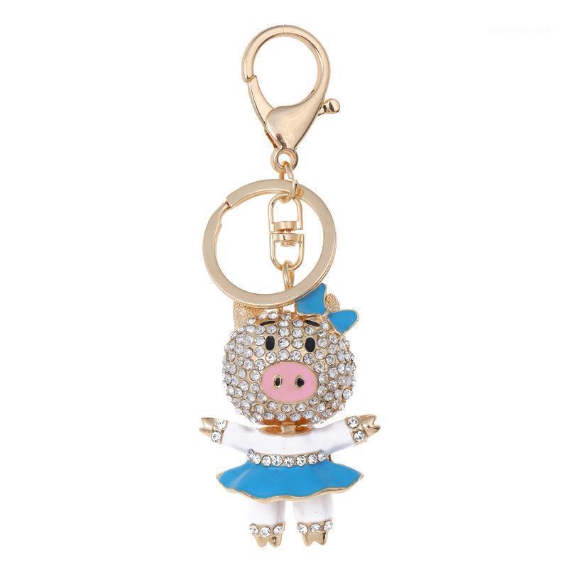 Keychains Factory Direct Metal Metal Keychain Pig Chick Pendant Pendente fai da te Rhinestone Catena chiave Piggy Couple Borsa Accessori all'ingrosso1