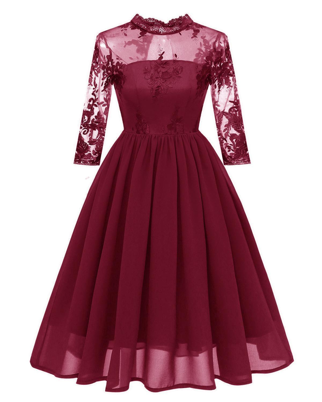 2020 нового Amazon горячего половина высокого воротника вышивка кружево сетка шифон три четверти рукав вечернего платье