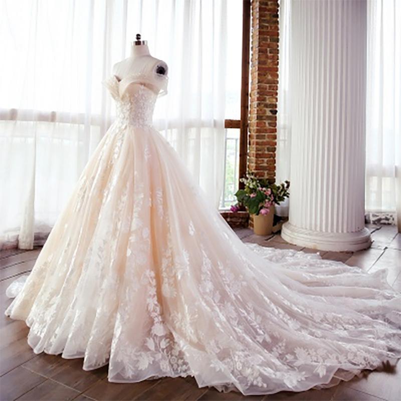 Champagne vestido de baile vestido de casamento fora do ombro apliques de pérolas frisada vestidos de novia com Trem Tribunal Vestidos de casamento