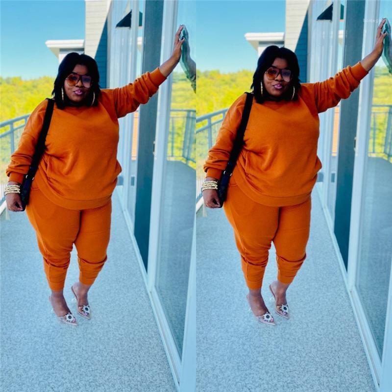 Boyutu Eşofman Uzun Kollu Katı Renk Gevşek 2 Parça Giyim Seti Rahat Kadın Giyim Bayan Tasarımcı Artı