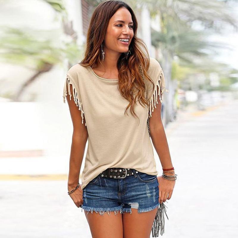 Talla grande 5xl blusa camisas para mujeres 2020 verano suelto borla algodón estilo casual blusa de manga corta cuello redondo camisas1