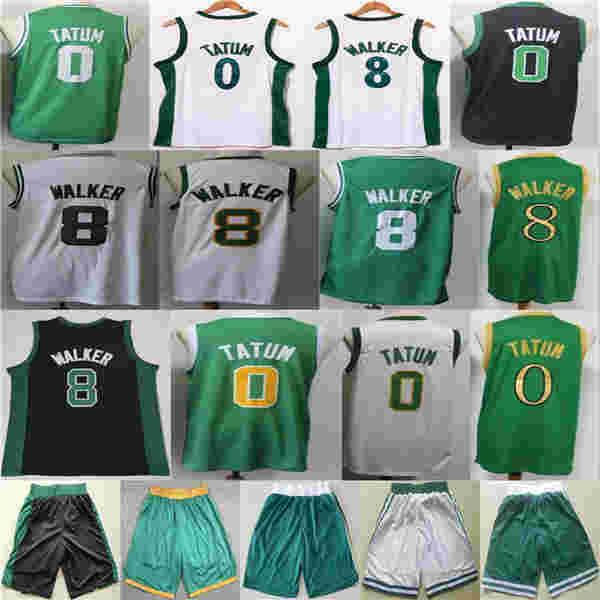 2021 New Jayson Kemba 8 Walker 0 Tatum City Basketball Jersey Shorts Preto Verde NCAA Branco