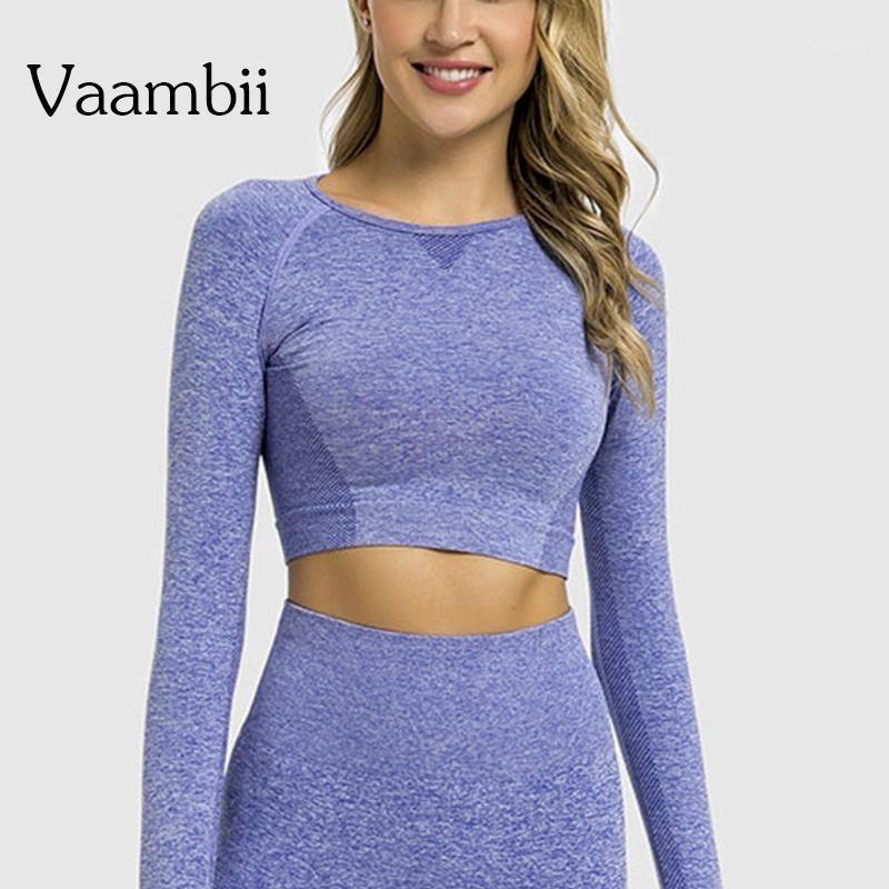 Langarm nahtlose Yoga-Gymnastik-Gymnastik-Top-Frauen-Trainings-Tops für Womens Fitness T-shirt Sport-Kleidung Sport Tshirt Activewear1