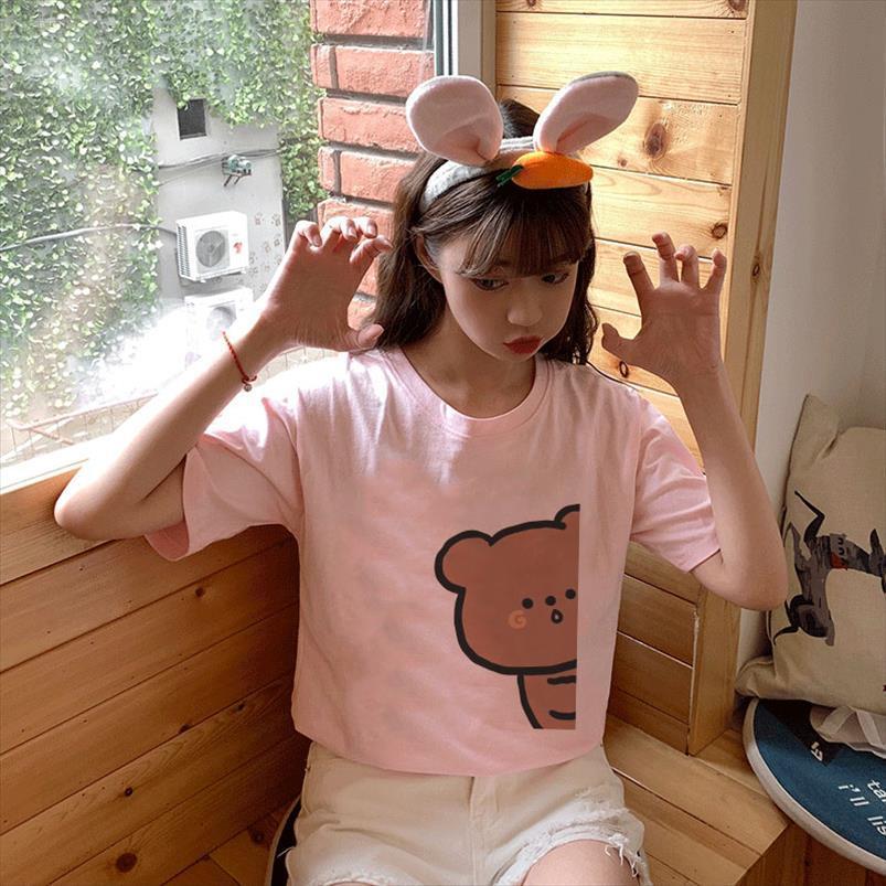 Été Harajuku esthétique à manches courtes Femme Hauts Kawaii rose de porc d'impression Motif mignon T-shirt Vogue vintage drôle Vêtements femme