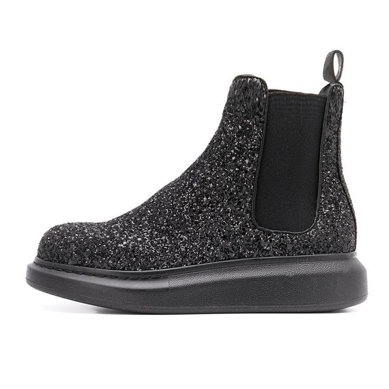 Slip на мужских кожаных сапогах толстые подошвы мужские ботинки черный золотой блеск сапоги мужчины 13 # 21 / 20d50