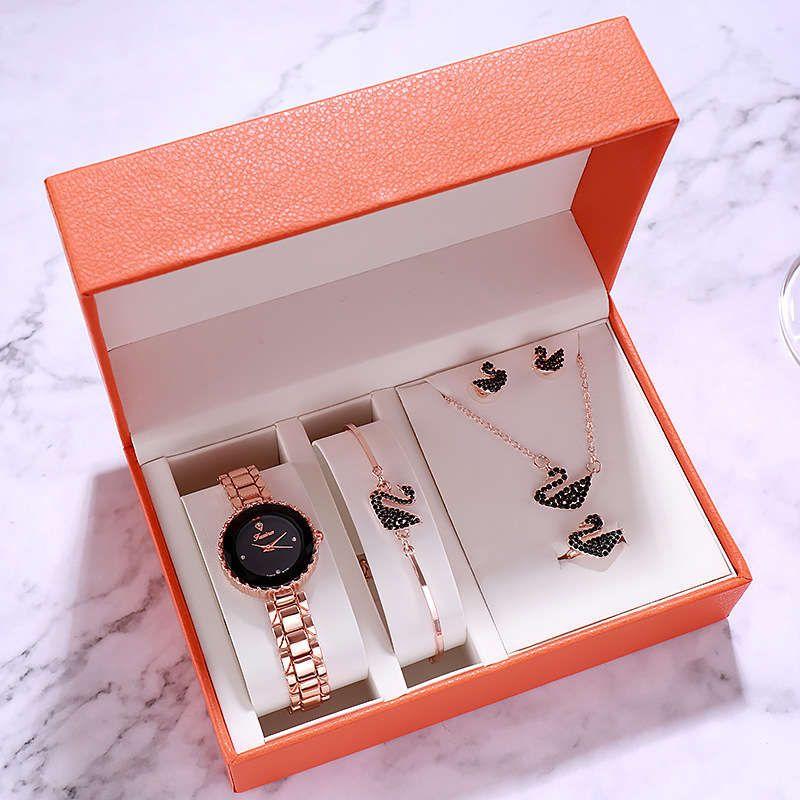 Fusa, orologio al quarzo impermeabile, orologio da cigno, moda donna cinque set, orologio da donna Tiktok.