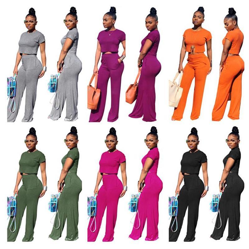 Women Designer Tracksuit Short Sleeve T Shirt Crop Top + Wide Leg Pants Trousers 2 Piece Set O-neck T-shirt Outfits Fashion Suit Clothes XL